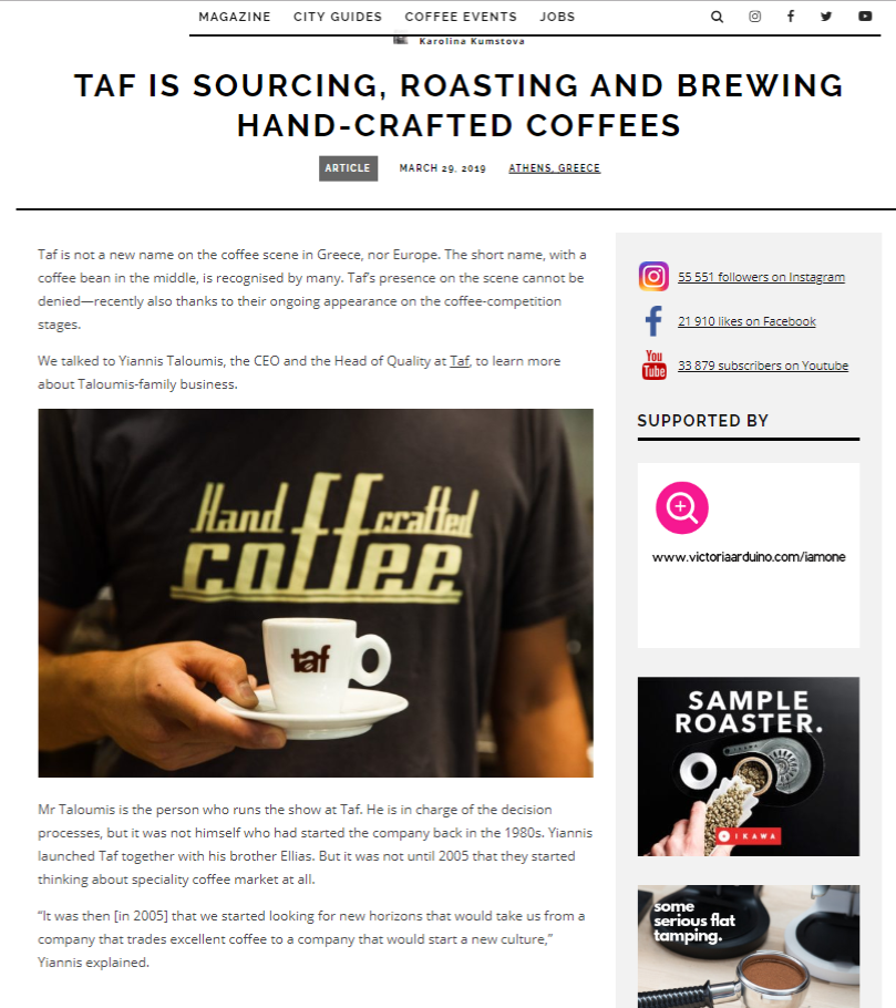 Mάρτιος 2019, Euporean COFFEE TRIP, Taf is sourcing, roasting and brewing hand-crafted coffees
